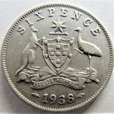 1938 George VI First year of issues,Sixpence Grading ABOUT VERY FINE / VERY FINE