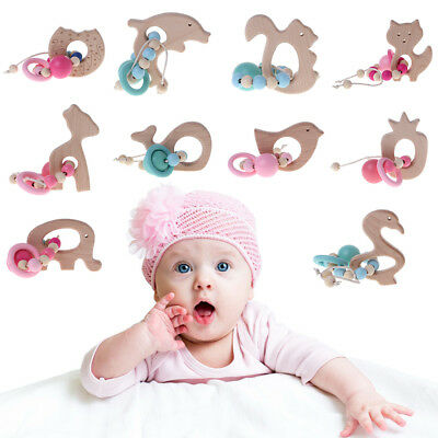 Baby Teether Natural Wood Silicone Animal Beads Bracelet Jewelry Teething Toys