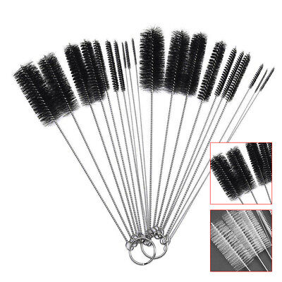 UK Nylon Cleaning Brush Set Glass Tube Bottle Pipe Straw Cleaner Bristle Kit 10x