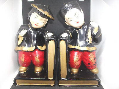 Vintage Oriental Asian Couple Standing Books Red Black Gold Mid Century Bookends