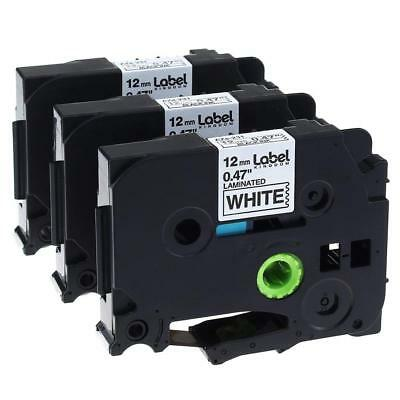 3PK Compatible Brother TZe-231 P-Touch Labe Tape Black on White Cassette 12mm