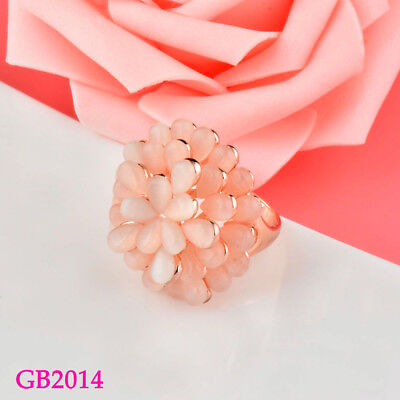Gorgeous Beige Opal Stone Flower Big Rings For Women Wedding Christmas Gifts