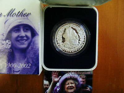 "2002 $5 Silver Proof Coin: ""The Queen Mother."""
