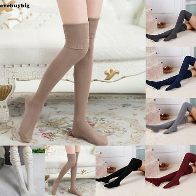 62acb3fd8 Women Cable Knit Extra Long Boot Socks Over Knee Thigh High School Girl  Stock~
