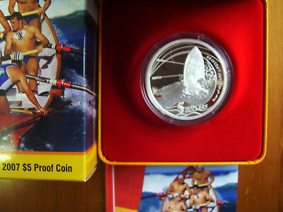 "2007 $5 Silver Proof Coin: ""Year of the Surf Lifesaver."""