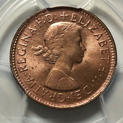 Australia 1961(p) Half Penny 1/2D graded MS65RD by PCGS. Only 1 graded higher