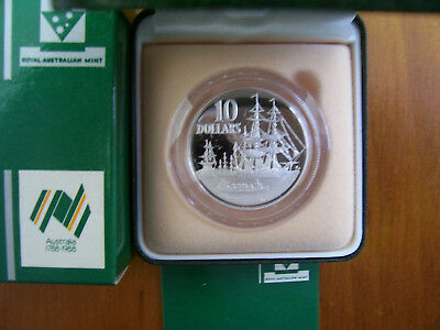 "1988 $10 Silver Proof Coin: ""Australia's Bicentenary."""