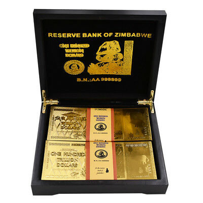 Festival Gifts 24k 999.9 Gold Foil Zimbabwe Gold Gold Banknote 100pcs In Box