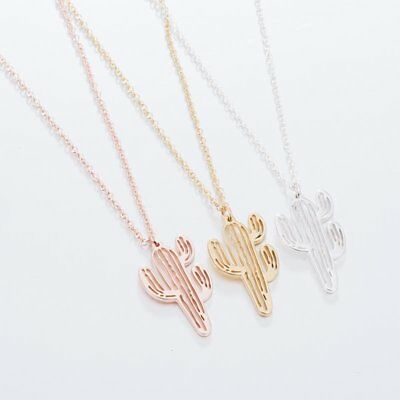 Fashion Stainless Steel Cactus Pendant Hollow Chains Necklace Charm Jewellery