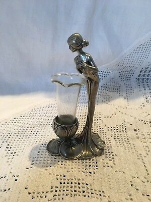 "Stunning Art Nouveau Style Pewter and Glass Posy Holder 4.25"" High"