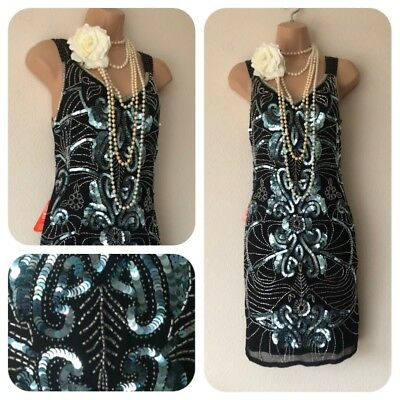 NWT Frock & Frill Sequin Beaded Embellished Dress 20's Gatsby Flapper 10 Party