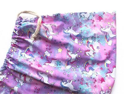 Sheet bag, Library or Day Care Tote Bag Drawstring  - Pink Sparkle Unicorn Print