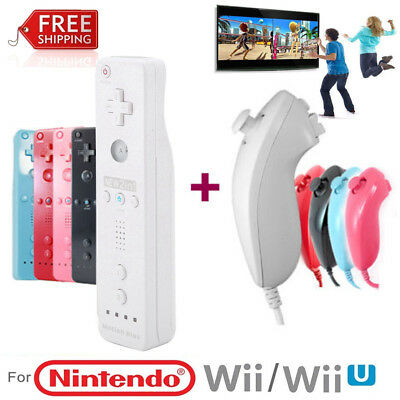 Wireless Motion + Remote Nunchuck Controller Gamepad For Nintendo Wii/ Wii U SET