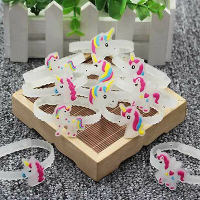 1/5/10pcs Cute Glow In The Dark Unicorn Soft Bracelet Children Toys Jewelry Gift
