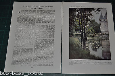 1930 magazine article FRENCH CHATEAU along the Loire, history, color photos