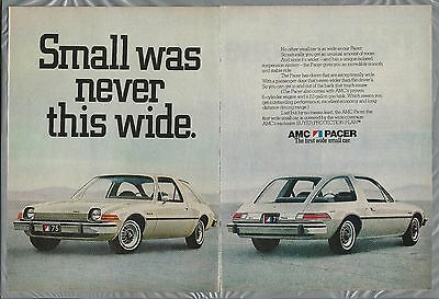 1975 AMC PACER 2-page advertisement, wide white Pacer American Motors Corp ad