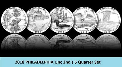 2018 P NATIONAL PARK QUARTER ATB  Set Lot~ 5 Unc 2nd's ~ Block Island