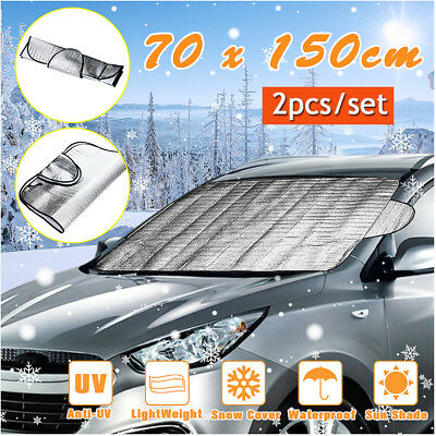 2x Universal Car Windscreen Frost Cover Screen Anti Sun Snow Winter Protection