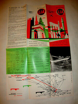 Lia Middle Libanese International Airways Timetable 1958.