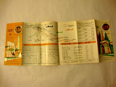 Lia Middle Libanese International Airways Timetable 1959.