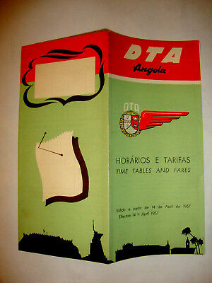 Dta Angola Airlines Timetable 1957.
