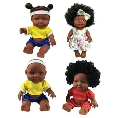 "10"" African Black Doll Baby Girls Boys Lifelike Full Body Silicone Vinyl Dolls"