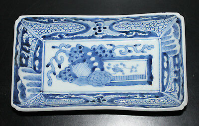 """A Superb 9.1"""" C18/19th Chinese Hand-painted Underglazed Blue Rectangular Tray 1"""