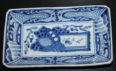 """A Superb 9.1"""" C18/19th Chinese Hand-painted Underglazed Blue Rectangular Tray 2"""
