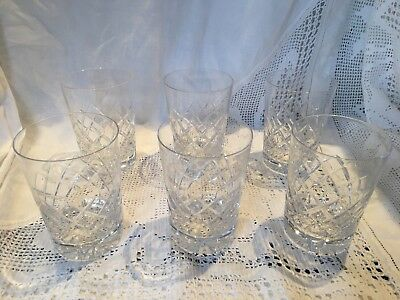 "6 Lovely small cut crystal tumblers VGC 3.75"" Tall 2.5""DIAMETER Whisky Liqueur"