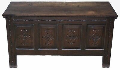 Antique large 18th Century Georgian carved oak coffer or mule chest