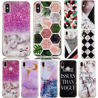 For Huawei P20 Pro Lite, Nova 3E Slim Soft Silicone Clear Painted TPU Case Cover
