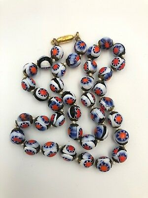 Vintage Venetian Hand Knotted Blue Red Chevron Millefiori Glass Bead Necklace