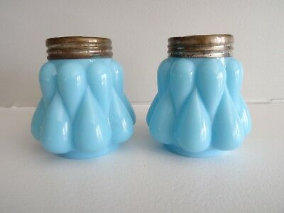 DITHRIDGE Glass Opaque Blue BULGING TEARDROP Salt & Pepper Shakers 1894-99