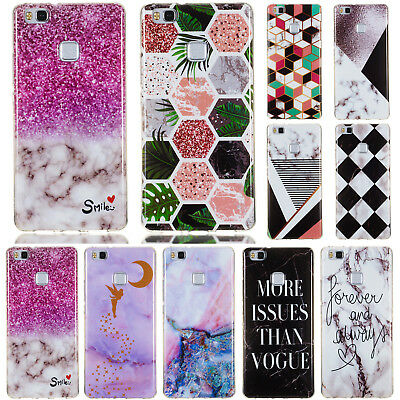 For Huawei P8 P9 P10 Lite 2017 Slim Soft Silicone Clear Painted TPU Case Cover