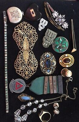 Vintage Mixed Lot Of Art Deco Jewellery Czech Filligri Pearl Paste Silver Repair