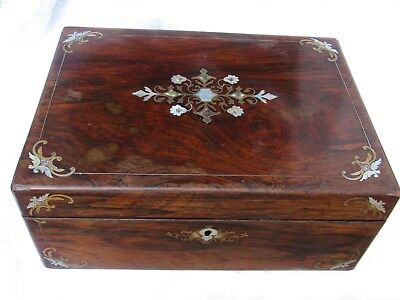 Fine Antique Rosewood Mother of Pearls Abalone Shell Writing Slopes Box 1852