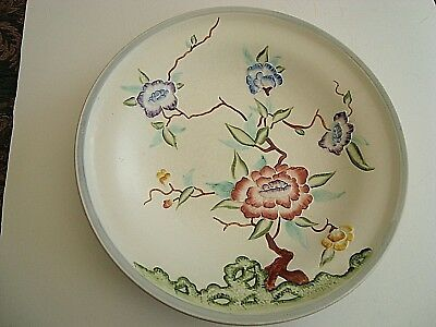 Large Vintage Pottery Dish by H J Wood Ltd with Chinese Rose raised Decoration