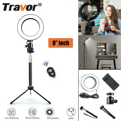 3 Colors 20CM Dimmable 8 INCH LED Ring Light For Video Photo With Light Stand AU