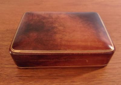 Italian Genuine Leather Dresser Box Gold Embossed Made In Florence Italy