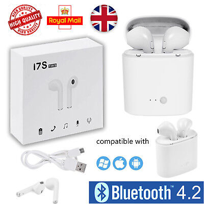 New I7S TWS Wireless Ear Pods Pair 2in1 White Bluetooth Earphones Headphones Mic