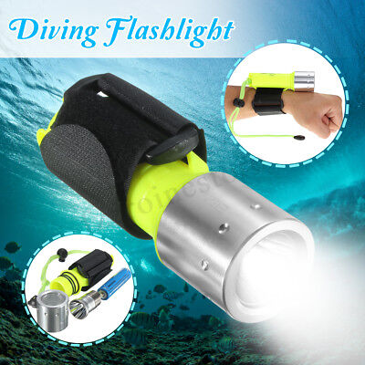 10000LM T6 LED Rechargeable Scuba Diving Flashlight Torch Battery Underwater 50M