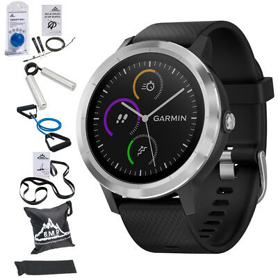 Garmin Vivoactive 3 GPS Fitness Smartwatch (Black) w/ 7 Pcs Workout Bundle
