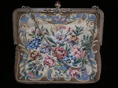 Antique PETIT POINT Purse JEWELED Clasp FRAME Tapestry FLORAL Handbag AUSTRIA