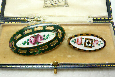 Vintage Jewellery Cloisonne Enamel Rose Flower Brooches Pins A/f