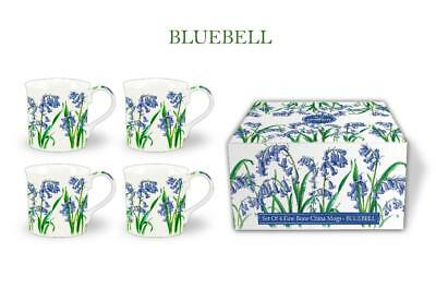 Fine Bone China Set Of 4 Gift Boxed Mugs Bluebell  Design
