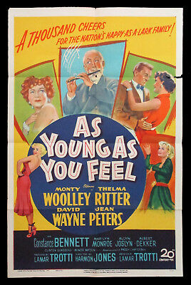 MARILYN MONROE As Young As You Feel original US one sheet movie poster 1951