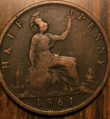 1861 UK GB GREAT BRITAIN VICTORIA HALFPENNY - Cleaned
