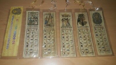 10 Large Genuine Egyptian Papyrus Bookmarks - Different Designs - 17.5cm x 5cm