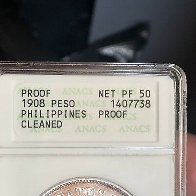 Us Philippines One Peso 1908  Anacs Pf 50 Net Cleaned