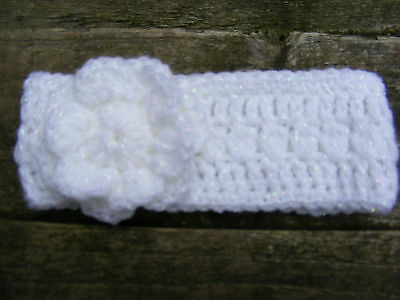 Handmade Baby Headband, Sparkly White with Flower, choice of 2 sizes